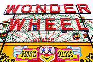 Brooklyn, New York, USA. 10th August 2013.  The Wonder Wheel sign looms overhead at Luna Park, during the 3rd Annual Coney Island History Day celebration.