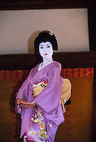 Geisha performing during Nishijin Yumematsuri (festival), Kitano-tenmangu Shrine, Kyoto, Japan