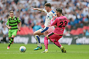 Cole Stockton (Tranmere Rovers) and Sam Russell (Forest Green Rovers) fight to get on the ball during the Vanarama National League Play Off Final match between Tranmere Rovers and Forest Green Rovers at Wembley Stadium, London, England on 14 May 2017. Photo by Mark P Doherty.
