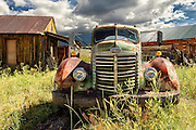A 1947(?) International Harvester KB-10 truck abandoned in a field in Eagle Nest, New Mexico.