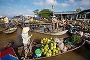 Mekong Delta. Phong Dien floating market. Coconuts.