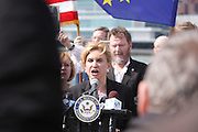 15 March 2014 — Roosevelt Island, N.Y. Rep. Carolyn Maloney led pro-Ukrainian demonstrators bearing the flags of Ukraine, the EU and NATO at Franklin D. Roosevelt Four Freedoms Park on Roosevelt Island, within sight of the UN on March 15, 2014. Inside the UN, Russia vetoed a Security Council measure that would have recognized Ukraine's sovereignty over Crimea. Both moves come in anticipation of tomorrow's referendum, when Crimeans will vote on whether or not to join Russia. 03/15/14 — Photograph by Ben Brody/NYCity Photo Wire