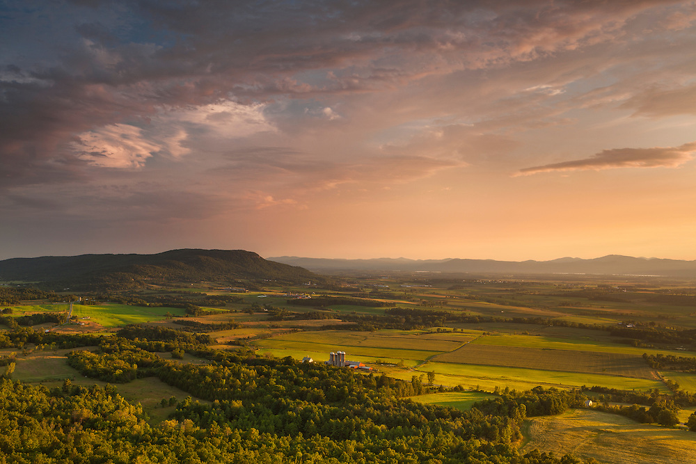 Sunset view of the Champlain Valley and Snake Mtn from Buck Mtn, near Fair Haven, Vermont