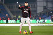 Manchester United Midfielder Andreas Pereira gives a thumbs up to fans in warm up during the Premier League match between Crystal Palace and Manchester United at Selhurst Park, London, England on 27 February 2019.