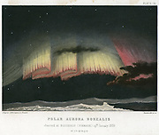 Aurora Borealis or Northern Lights, curtain form 1839.  Observation made at Bossekop, Finmark, Norway, 19 January 1839. This luminous atmospheric electrical phenomenon is most spectacular at time of sunspot maximum. From 'The Forces of Nature', Amedee Guillemin, (London, 1872). Chromolithograph.