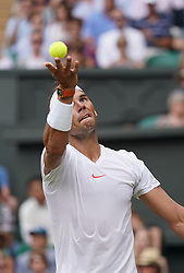 &copy; Licensed to London News Pictures.05/07/18.<br /> London, UK: The Wimbledon Lawn Tennis Championships at All England Lawn Tennis and Croquet Club<br /> Mens singles - second round<br /> R.Nadal (esp) defeats M.Kukushkin (KAZ)