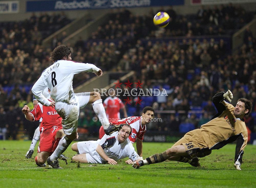 Bolton, England - Wednesday, January 31, 2007: Bolton Wanderers' Ivan Campo fires over the bar under pressure from Charlton Athletic's goalkeeper Scott Carson during the Premiership match at the Reebok Stadium. (Pic by David Rawcliffe/Propaganda)