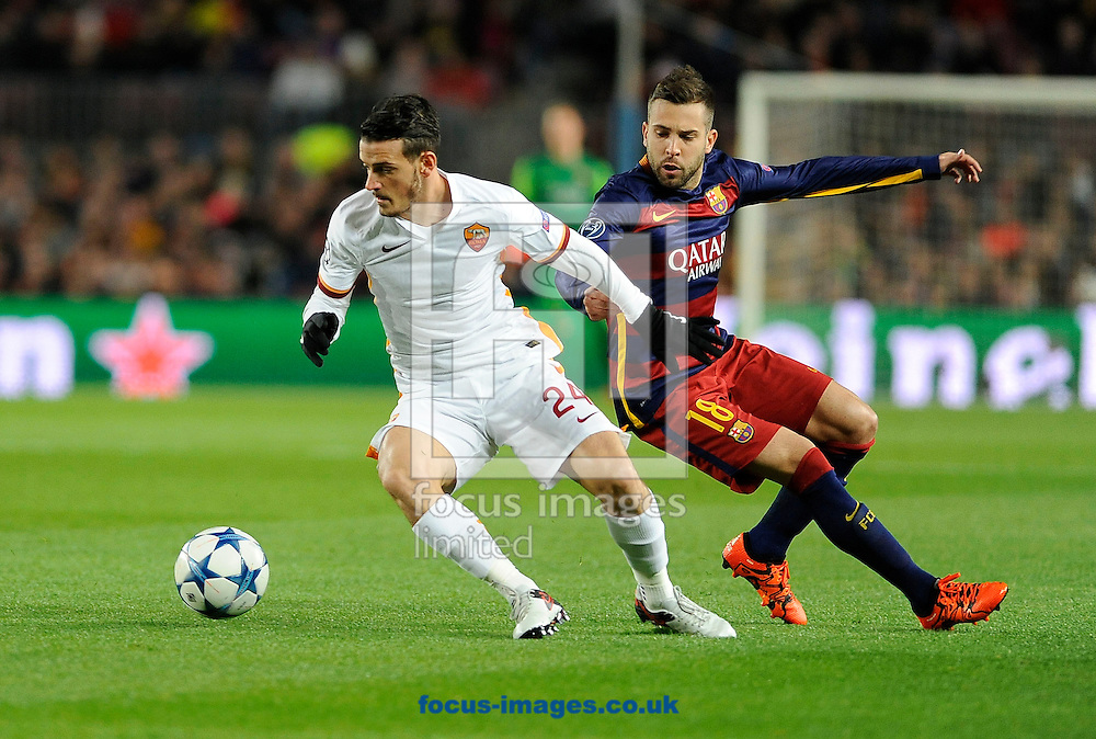 Jordi Alba of FC Barcelona and Alessandro Florenzi of A.S. Roma during the UEFA Champions League match at Camp Nou, Barcelona<br /> Picture by Stefano Gnech/Focus Images Ltd +39 333 1641678<br /> 24/11/2015
