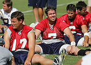 SAN DIEGO - JUNE 10:  San Diego Chargers quarterbacks Philip Rivers #17, free agent acquisition A.J. Feeley #7, and third round draft pick Charlie Whitehurst #6 stretch during minicamp at the San Diego Chargers Park practice field on June 10, 2006 in San Diego, CA. ©Paul Anthony Spinelli *** Local Caption *** Philip Rivers;A.J. Feeley;Charlie Whitehurst