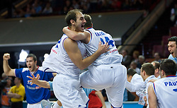 Nenad Krstic of Serbia and Novica Velickovic of Serbia celebrate during the EuroBasket 2009 Semi-final match between Slovenia and Serbia, on September 19, 2009, in Arena Spodek, Katowice, Poland. Serbia won after overtime 96:92.  (Photo by Vid Ponikvar / Sportida)