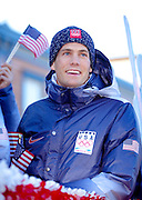 US Olympic Biathelete Tim Burke at a celebratory parade honoring North Country Winter Olympic Athletes in Saranac Lake, NY. (Photo/Todd Bissonette - http://www.rtbphoto.com