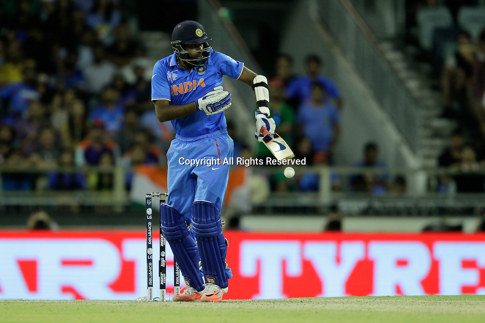 06.03.2015. Perth, Australia. ICC Cricket World Cup. India versus West Indies. R.Ashwin defends off his body during his innings of 16.