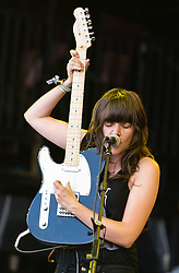 © Licensed to London News Pictures. 27/06/2015. Pilton, UK.  Courtney Barnett performing at Glastonbury Festival 2015 on Saturday Day 4 of the festival on the The Pyramid Stage stage.  This years headline acts include Kanye West, The Who and Florence and the Machine, the latter being upgraded in the bill to replace original headline act Foo Fighters. Photo credit: Richard Isaac/LNP