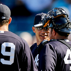 Feb 28, 2013; Tampa, FL, USA; New York Yankees manager Joe Girardi holds a meeting on the pitchers mound during the top of the eighth inning of a spring training game against the Toronto Blue Jays at George Steinbrenner Field. Mandatory Credit: Derick E. Hingle-USA TODAY Sports