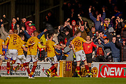 Goal - David Turnbull of Motherwell scores the winner in the final mins of the game during the Ladbrokes Scottish Premiership match between Motherwell and Heart of Midlothian at Fir Park, Motherwell, Scotland on 17 February 2019.