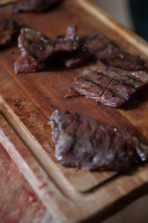 Iberico pork steaks. Finca Al Cornocal, Extramadura (Barajoz Province), Spain.