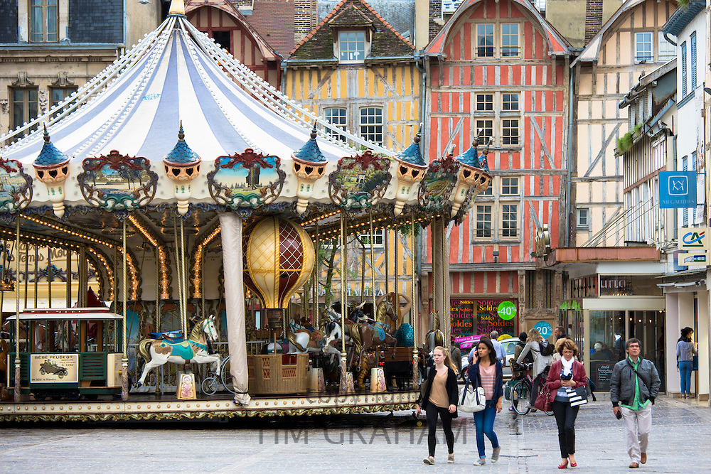 Traditional medieval timber-frame architecture in central square at Troyes in the Champagne-Ardenne region of France