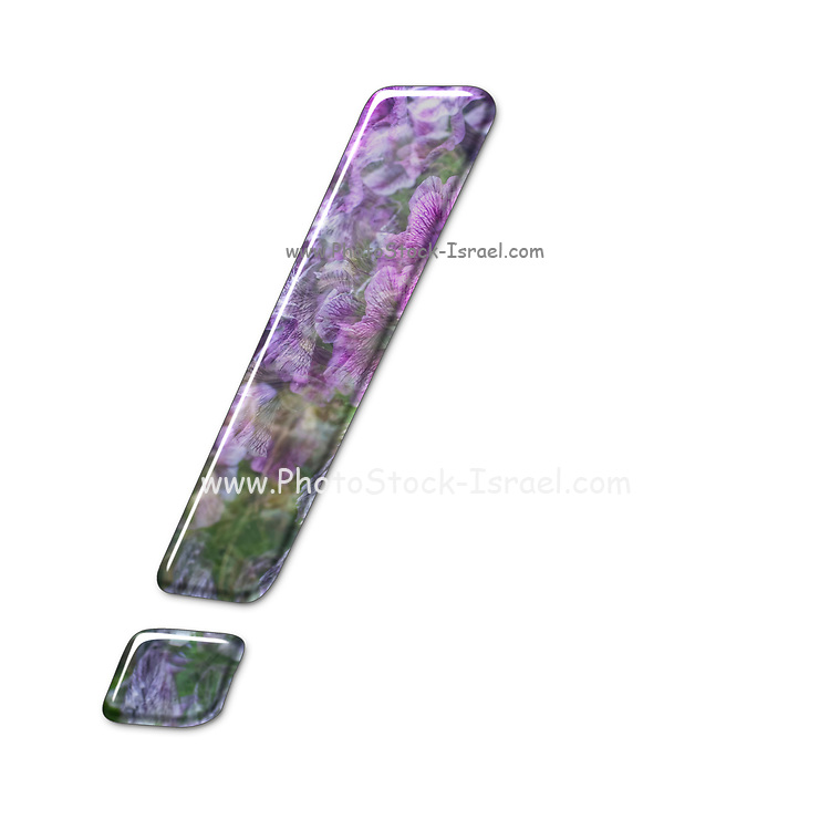 The Exclamation Mark symbol. Part of a set of letters, Numbers and symbols of 3D Alphabet made with a floral image on white background