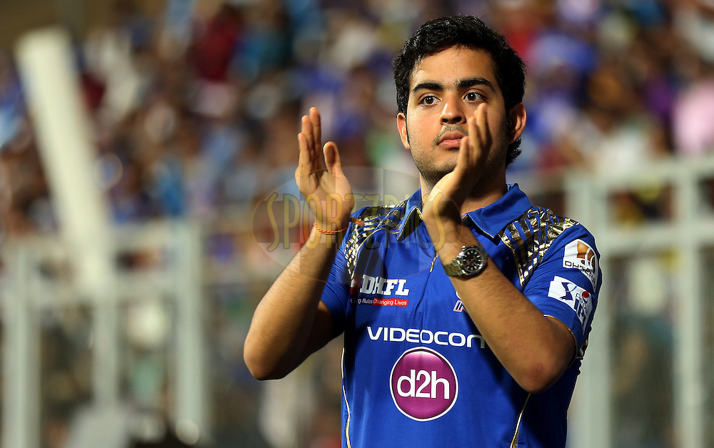 Akash Ambani son of nita ambani during match 12 of the Pepsi IPL 2015 (Indian Premier League) between The Mumbai Indians and The Chennai Superkings held at the Wankhede Stadium in Mumbai India on the 17th April 2015.<br /> <br /> Photo by:  Sandeep Shetty / SPORTZPICS / IPL