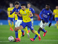 Football - 1919 - 2020 FA Cup R5: Leicester-Birmingham<br /> <br /> Maxime Colin of Birmingham with Marc Albrighton and Kelechi Iheanacho of Leicester, at The King Power stadium<br /> <br /> COLORSPORT/ANDREW COWIE