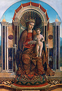 Virgin and Child Enthroned' c1475-1485. Oil on wood. Gentile Bellini (active c1460. died 1507) Italian Renaissance painter. Throne Marble Crown Halo Pomegranate Passion Carpet Mother Infant