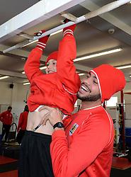 Bristol City's Derrick Williams warms up with Connor in the gym - Photo mandatory by-line: Dougie Allward/JMP - Mobile: 07966 386802 - 01/04/2015 - SPORT - Football - Bristol - Bristol City Training Ground - HR Owen and SAM FM