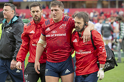 October 20, 2018 - Limerick, Ireland - Dan Goggin of Munster leaves the pitch injured during the Heineken Champions Cup match between Munster Rugby and Gloucester Rugby at Thomond Park in Limerick, Ireland on October 20, 2018  (Credit Image: © Andrew Surma/NurPhoto via ZUMA Press)
