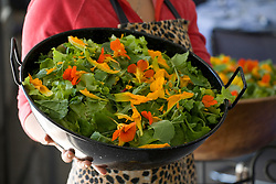 Salad decorated with edible flowers at Ballymaloe cookery school