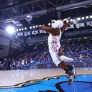 Delaware 87ers Mascot Caesar attempts a half court shot the second half of a NBA D-league regular season basketball game between the Delaware 87ers and the Erie BayHawk (Orlando Magic) Friday, Mar. 27, 2015 at The Bob Carpenter Sports Convocation Center in Newark, DEL.