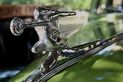 04 August 2012: hood ornament or mascot of a 1941 Packard displayed at the McLean County Antique Automobile Club Show at the David Davis Mansion, Bloomington IL