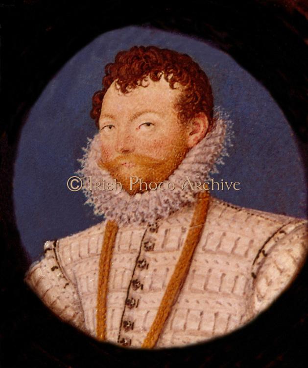 Francis Drake (c1540-1596) English navigator and privateer.  Miniature from the studio of Nicholas Hilliard, 1591.