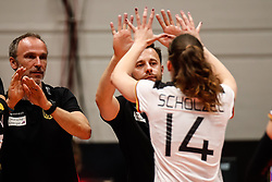 16.05.2019, Montreux, SUI, Montreux Volley Masters 2019, Deutschland vs Polen, im Bild Nicki Neubauer (Germany Headcoach) and Marie Schoelzel (Germany #14) // during the Montreux Volley Masters match between Germany and Poland in Montreux, Switzerland on 2019/05/16. EXPA Pictures © 2019, PhotoCredit: EXPA/ Eibner-Pressefoto/ beautiful sports/Schiller<br /> <br /> *****ATTENTION - OUT of GER*****