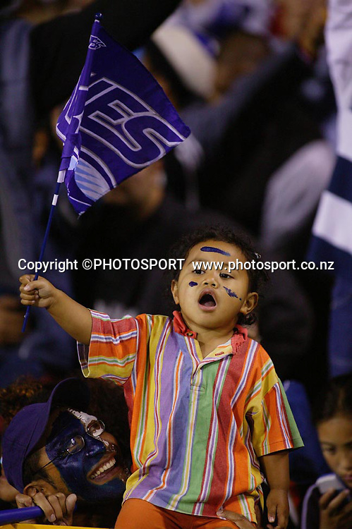 8 May, 2004. Rugby Union Super 12. Eden Park, Auckland, New Zealand. Blues v Highlanders.<br /> <br /> Blues Fan.<br /> The Blues won the match, 50 - 22.<br /> Please credit: Photosport