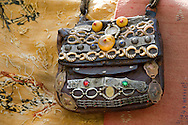 An ornately decorated leather bag for sale in the resort town of Setti Fatma in the Ourika Valley, Morocco
