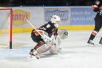 KELOWNA, CANADA, FEBRUARY 17: Chris Driedger #33 of the Calgary Hitmen defends the net against the Kelowna Rockets at the Kelowna Rockets on February 17, 2012 at Prospera Place in Kelowna, British Columbia, Canada (Photo by Marissa Baecker/Shoot the Breeze) *** Local Caption ***