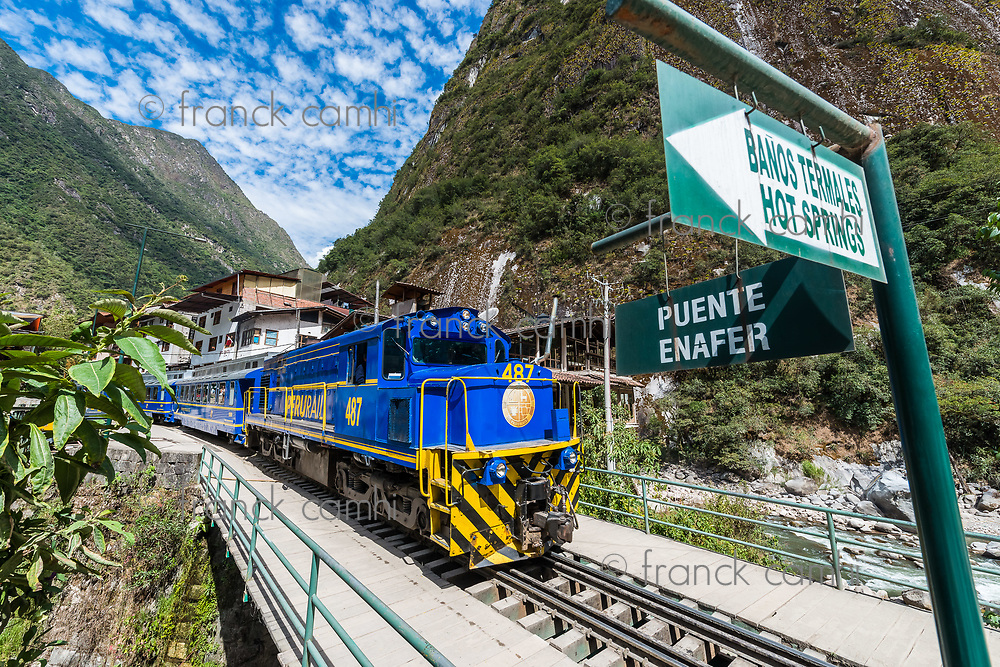 Aguas Calientes, Peru - July 17, 2013: train between Aguas Calientes and Ollantaytambo in the peruvian Andes at Cuzco Peru on july 17, 2013
