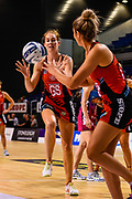 Kate Beveridge of the Tactix passes to Brooke Leaver of the Tactix during the ANZ Premiership Netball match, Tactix v Steel, Horncastle Arena, Christchurch, New Zealand, 11th February 2019.Copyright photo: John Davidson / www.photosport.nz