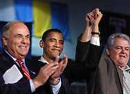 PHILADELPHIA - OCTOBER 21:  Senator Barack Obama (C) (D-Il) is greeted by Pennsylvania Governor Ed Rendell (L) and Philadelphia City Councilman Bob Brady (R) before speaking during a Democratic Unity Rally at Temple University's McGonigle Hall October 21, 2006 in Philadelphia, Pennsylvania.  Senator Barack Obama (D-Il) joined Democratic Pennsylvania Governor Ed Rendell, and Democratic Senate candidate Bob Casey and other Philadelphia regional Democrats at the rally. Rendell faces Republican challenger and former Pittsburgh Steeler Lynn Swann in the gubernatorial election. Casey faces incumbent Republican Senator Rick Santorum. (Photo by William Thomas Cain/Getty Images)
