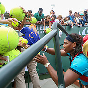 March 13, 2016, Palm Springs, CA:<br /> Serena Williams signs autographs after defeating Yulia Putintseva during the 2016 BNP Paribas Open at the Indian Wells Tennis Garden in Indian Wells, California Sunday, March 13, 2016.<br /> (Photos by Billie Weiss/BNP Paribas Open)