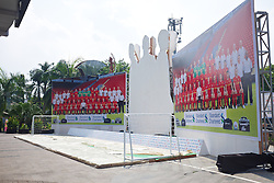 JAKARTA, INDONESIA - Wednesday, July 17, 2013: Preparations are made for a fans' event at the FX Senayan Centre ahead of Liverpool FC's visit to Indonesia as part of their Preseason Tour. (Pic by David Rawcliffe/Propaganda)