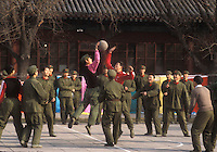 chinese soldiers playing basketball-Photograph by Owen Franken
