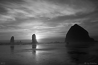Clark's Point of View-B&amp;W - Cannon Beach, Oregon - 4/21/12.<br /> It was the warmest day of the year and with a little encouragement from a Facebook friend to &quot;get out there and enjoy the sunshine today!&quot; I headed to the coast. After most of the many photographers that are a constant feature at this spot on Cannon beach had left, I found a moment alone. Clark, of Lewis and Clark, found himself looking on this scene in early 1806, so I thought this name would be appropriate.