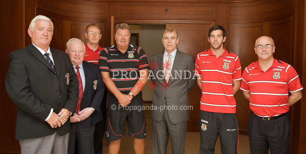BAKU, AZERBAIJAN - Thursday, June 4, 2009: HRH Prince Andrew meets Wales' manager John Toshack MBE and captain Joe Ledley ahead of the 2010 FIFA World Cup Qualifying Group 4 match. L-R: FAW Vice President Phil Pritchard, FAW Head of International Commity Member Terry Harris, head of international affairs Mark Evans, manager John Toshack MBE, HRH Prince Andrew, captain Joe Ledley, press officer Ceri Stennett. (Pic by David Rawcliffe/Propaganda)