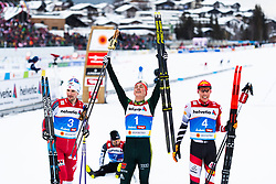 February 22, 2019 - Seefeld In Tirol, AUSTRIA - 190222 Silver medalist Jan Schmid of Norway, giold medalist Eric Frenzel of Germany and silver medalsit Franz-Josef Rehrl of Austria celebrate as they pose for photographers after competing in men's nordic combined 10 km Individual Gundersen during the FIS Nordic World Ski Championships on February 22, 2019 in Seefeld in Tirol..Photo: Joel Marklund / BILDBYRÃ…N / kod JM / 87882 (Credit Image: © Joel Marklund/Bildbyran via ZUMA Press)