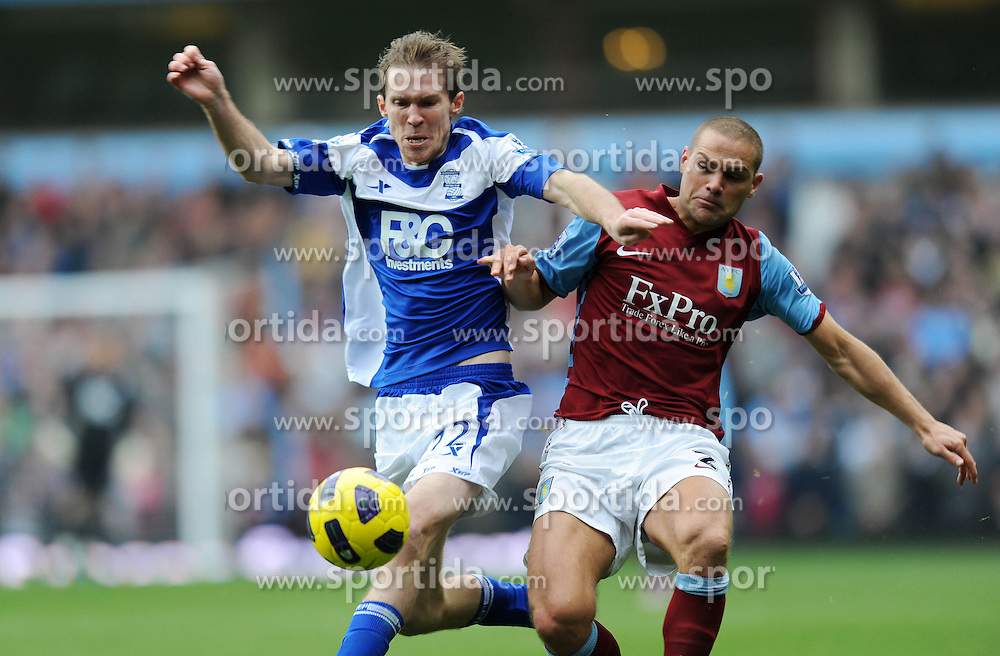 31.10.2010, Villa Park stadium, Birmingham, ENG, PL, Aston Villa vs Birmingham City, im Bild Birmingham City`s Alexander Hleb  battles with Aston Villa's Luke Young. EXPA Pictures © 2010, PhotoCredit: EXPA/ IPS/ Rob Noyes +++++ ATTENTION - OUT OF ENGLAND/UK +++++