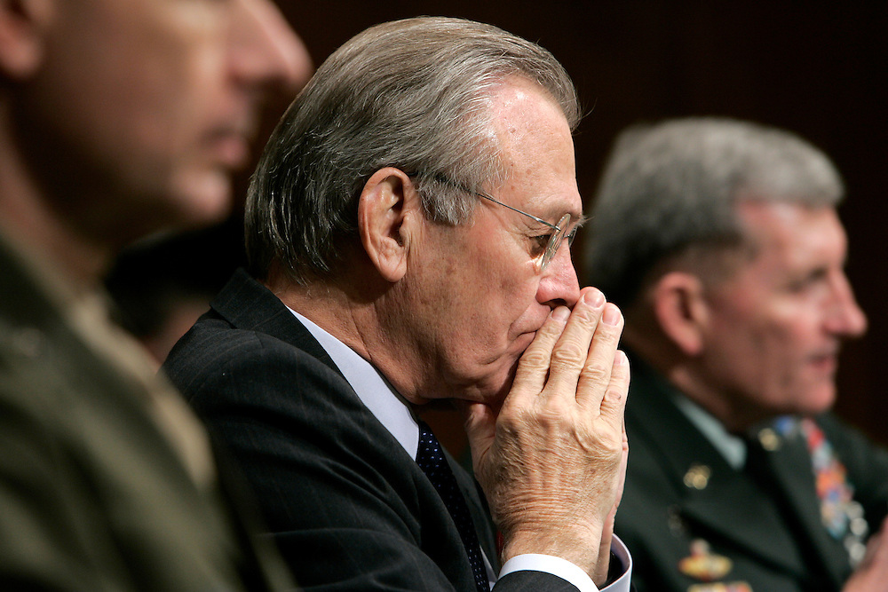 U.S. Secretary of Defense Donald Rumsfeld listens to opening statements prior to testifying before the Senate Armed Services Committee about the Pentagon's 2007 proposed budget on Capitol Hill in Washington, DC Tuesday 07 February 2006. Rumsfeld talked about the proposed $439.3 billion budget and how it will help pay for the military's transformation into a more flexible fighting force. Testifying with Rumsfeld are Army Chief of Staff General Peter Schoomaker (R) and Chairman of the Joint Chiefs of Staff, General Peter Pace.