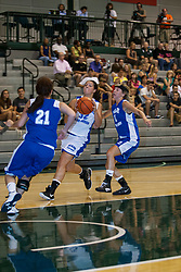 16 June 2012: Ashley Walker defended by Jessica McEvoy and Jill Friedrich. Illinois Basketball Coaches Association (IBCA) Girls All Star game at the Shirk Center in Bloomington IL