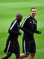 Zlatan IBRAHIMOVIC / Zoumana CAMARA  - 20.04.2015 - Entrainement du Paris Saint Germain  - Champions League<br />Photo : Dave Winter / Icon Sport