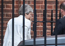 © Licensed to London News Pictures. 22/07/2019. London, UK. Prime Minister Theresa May arrives at the back of Downing Street on her last few days in office. Voting in the Conservative party leadership election ends today. Photo credit: Peter Macdiarmid/LNP