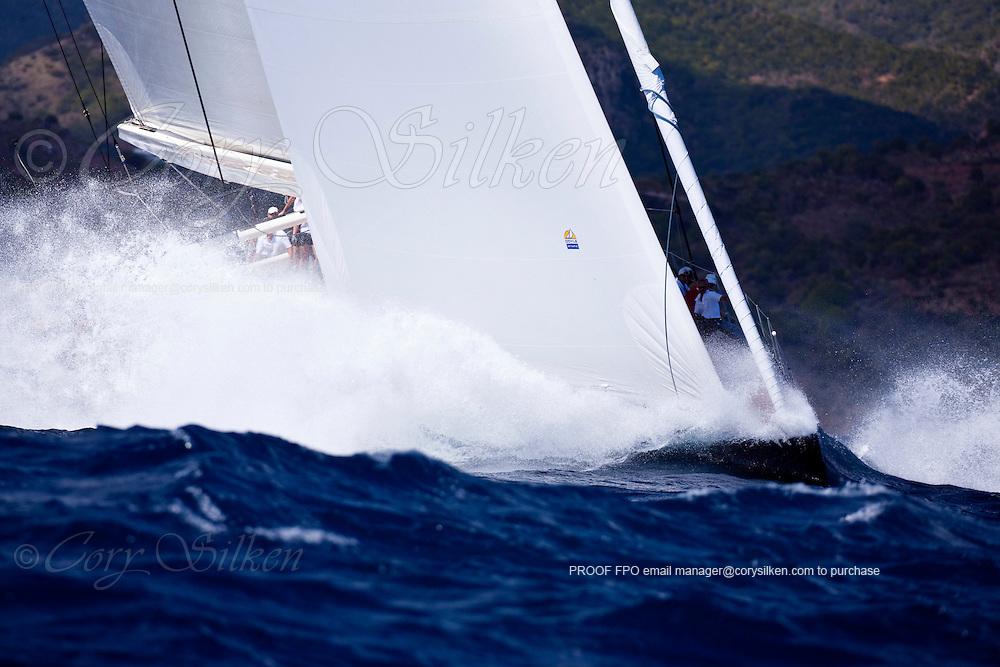 P2 sailing in The Superyacht Cup regatta, Antigua 2010, race one.